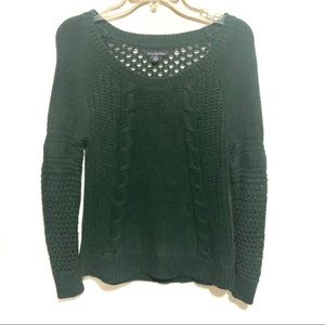 Dark Green Chunky Cable Knit Sweater
